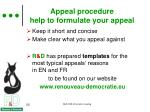 appeal procedure help to formulate your appeal