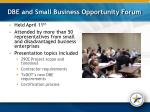 dbe and small business opportunity forum