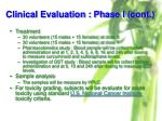 clinical evaluation phase i cont