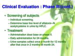 clinical evaluation phase iii cont