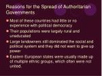 reasons for the spread of authoritarian governments