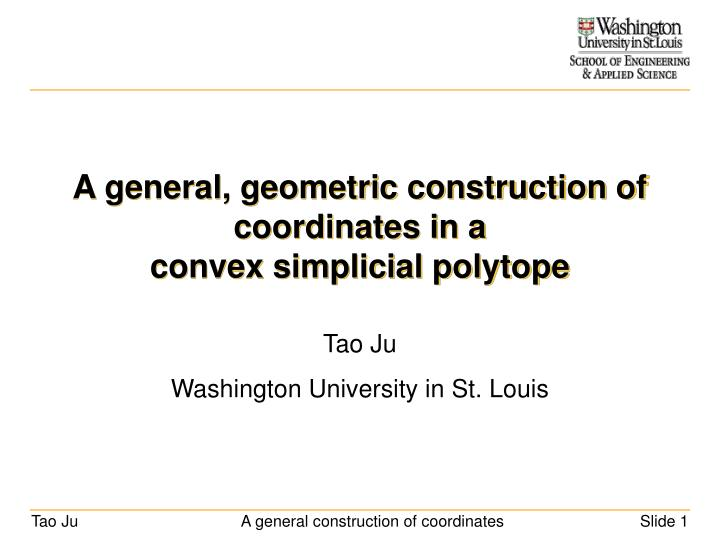 a general geometric construction of coordinates in a convex simplicial polytope n.