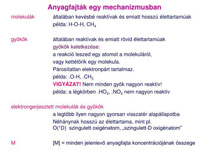 Anyagfajták egy mechanizmusban