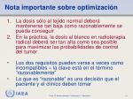 nota importante sobre optimizaci n