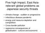 five high impact east asia relevant global problems as japanese security threats