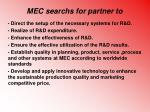 mec search s for partner to