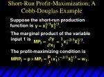 short run profit maximization a cobb douglas example
