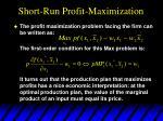 short run profit maximization2