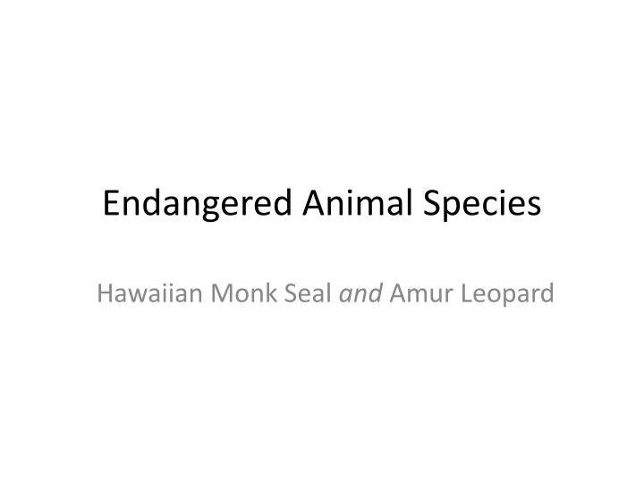 endangered animal species n.