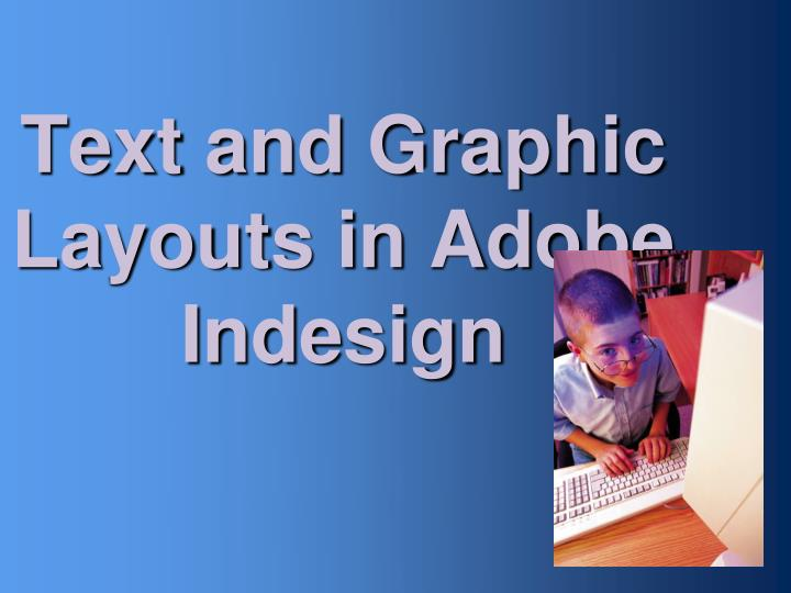 text and graphic layouts in adobe indesign n.