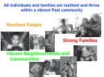 all individuals and families are resilient and thrive within a vibrant peel community