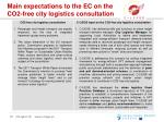 main expectations to the ec on the co2 free city logistics consultation