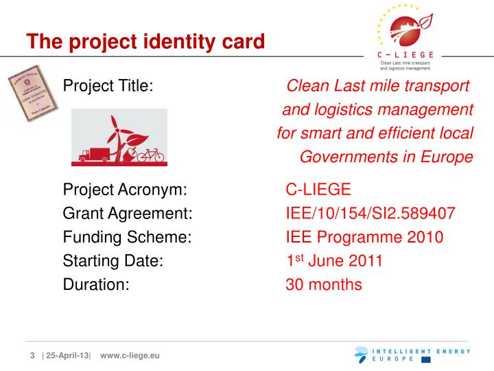 The project identity card