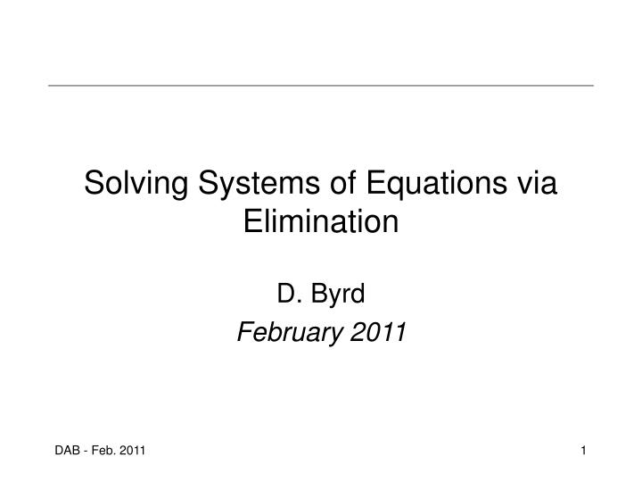 solving systems of equations via elimination n.