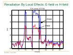 reradiation by local effects e field vs h field