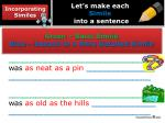 let s make each simile into a sentence3