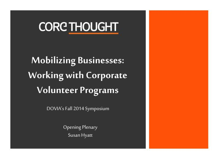 mobilizing businesses working with corporate volunteer programs n.