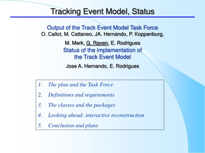 tracking event model status n.