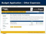 budget application other expenses