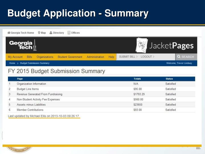Budget Application - Summary