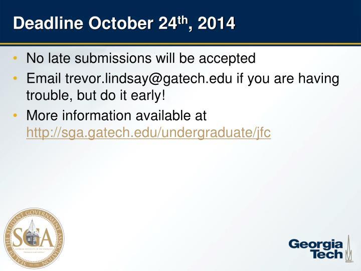 Deadline October