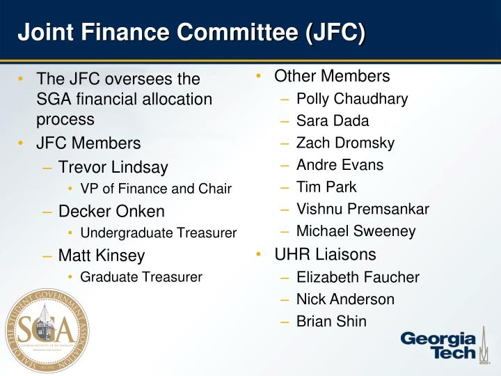 Joint finance committee jfc
