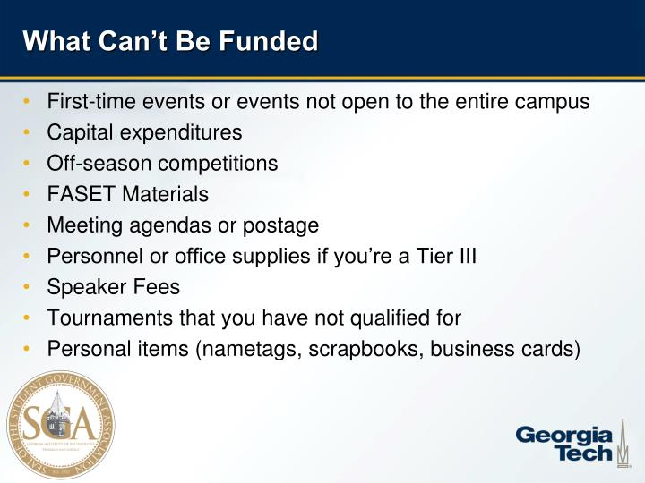 What Can't Be Funded