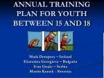 annual training plan for youth between 15 and 18