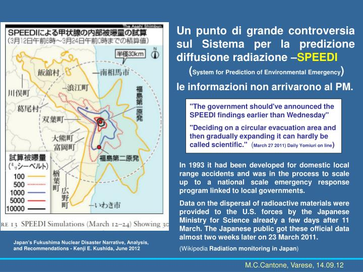 Un punto di grande controversia sul Sistema per la predizione diffusione radiazione –