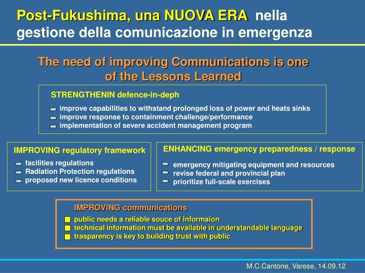 Post-Fukushima, una NUOVA ERA