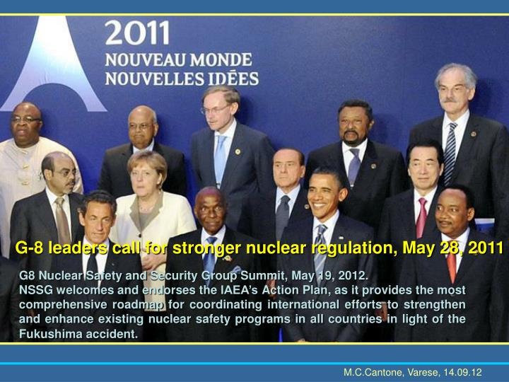 G-8 leaders call for stronger nuclear regulation, May 28, 2011