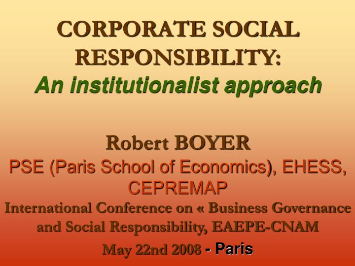 corporate social responsibility an institutionalist approach n.