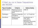 criteri su cui si basa l equazione del niosh