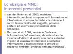 lombalgia e mmc interventi preventivi