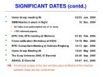 significant dates contd