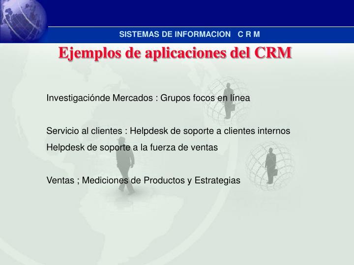 Ejemplos de aplicaciones del CRM