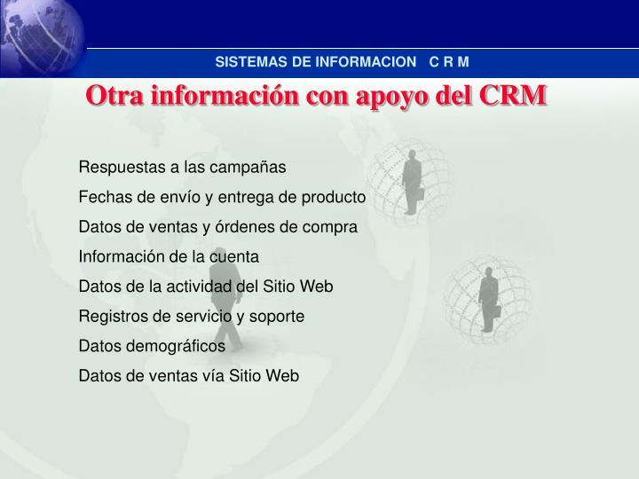 Otra información con apoyo del CRM