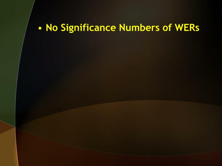 No Significance Numbers of WERs
