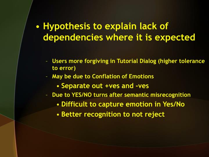 Hypothesis to explain lack of dependencies where it is expected