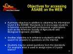 objectives for accessing asabe on the web