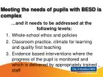 meeting the needs of pupils with besd is complex