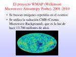el proyecto wmap wilkinson microwave anisotropy probe 2001 2010