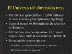 el universo de dimensi n tres