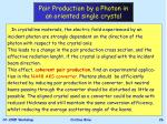 pair production by a photon in an oriented single crystal