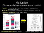 motivation divergence between academia and practic e