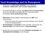 tacit knowledge and its emergence