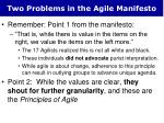 two problems in the agile manifesto