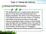 topic 1 taking the subway