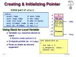 creating initializing pointer