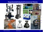 experimental industrial commercial robots